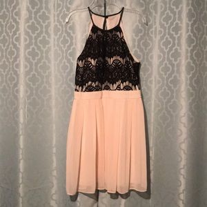 Peach and Lace Formal Short Dress